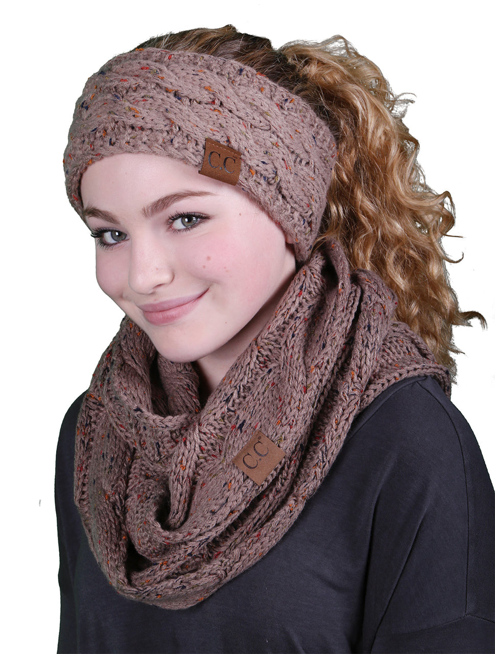 CC Fuzzy Lined Confetti Head Wrap With Matching Infinity Scarf - Taupe