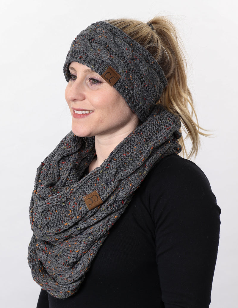 CC Fuzzy Lined Confetti Head Wrap With Matching Infinity Scarf - Melange Grey