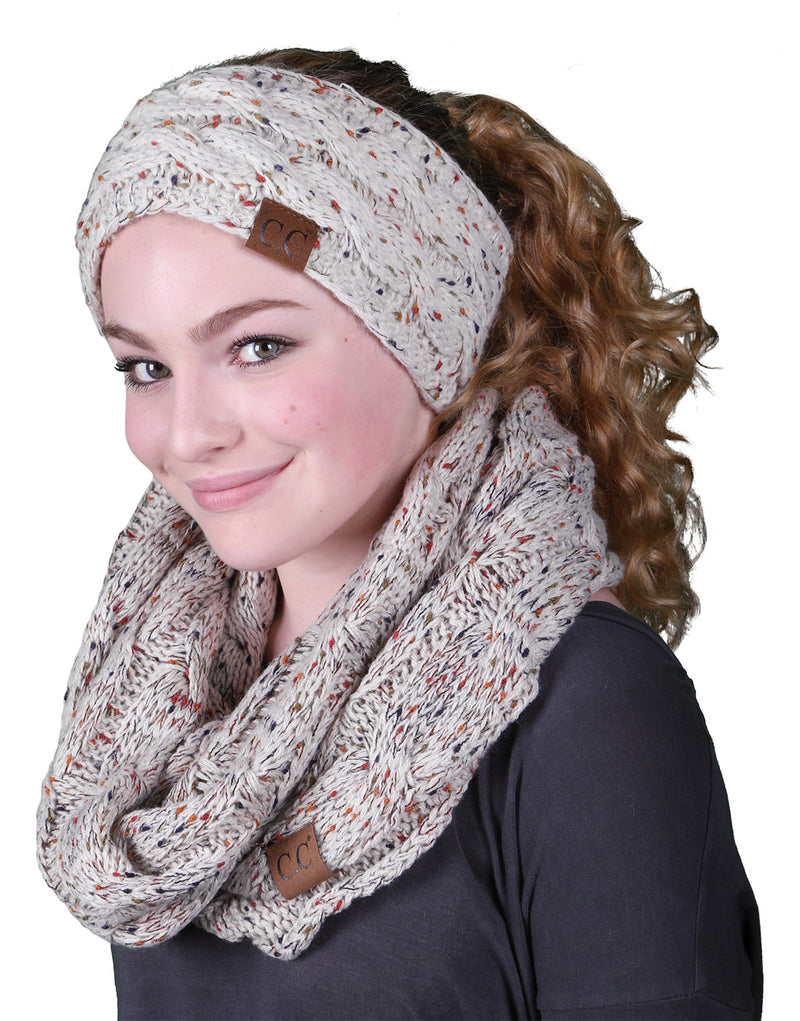 CC Fuzzy Lined Confetti Head Wrap With Matching Infinity Scarf - Oatmeal