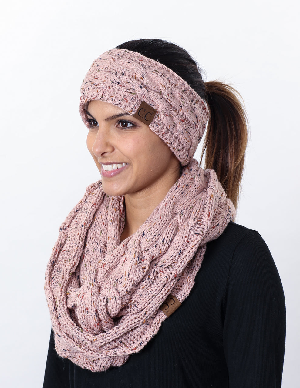CC Fuzzy Lined Confetti Head Wrap With Matching Infinity Scarf - Indi Pink
