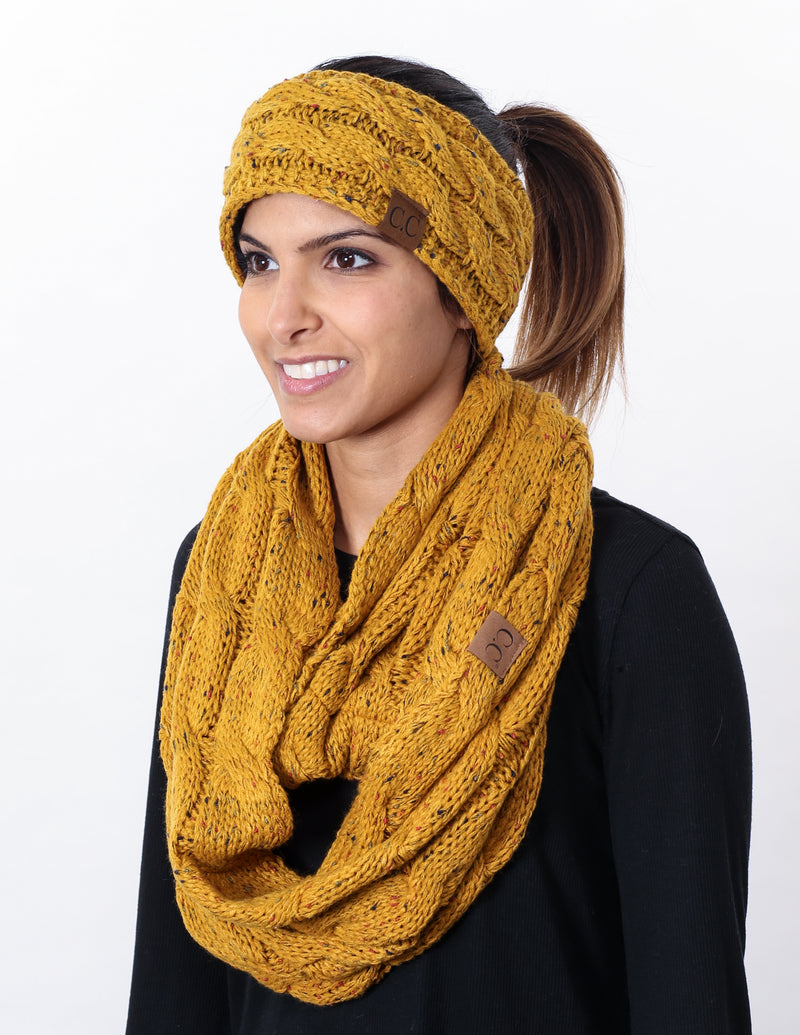 CC Fuzzy Lined Confetti Head Wrap With Matching Infinity Scarf - Mustard
