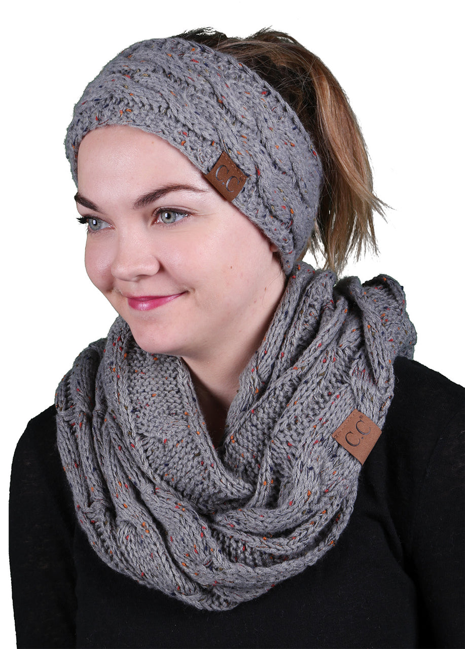 CC Fuzzy Lined Confetti Head Wrap With Matching Infinity Scarf - Dove Grey
