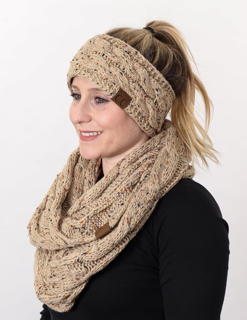 CC Fuzzy Lined Confetti Head Wrap With Matching Infinity Scarf - Latte