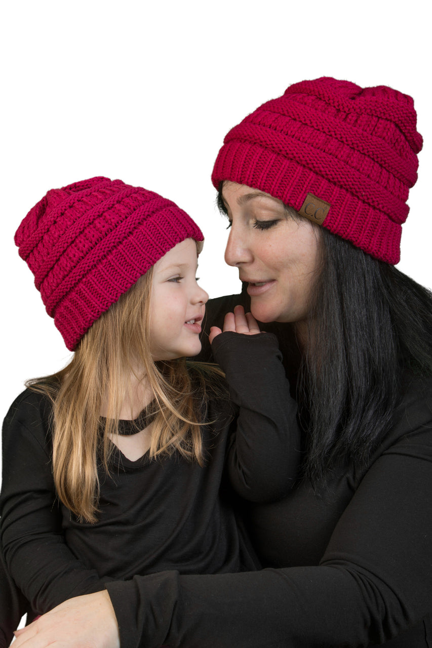 C.C Women & Children's Matching Beanie Bundle - Hot Pink