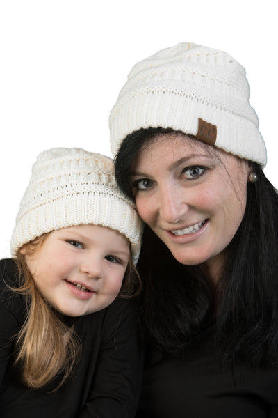 C.C Women & Children's Matching Beanie Bundle - Ivory