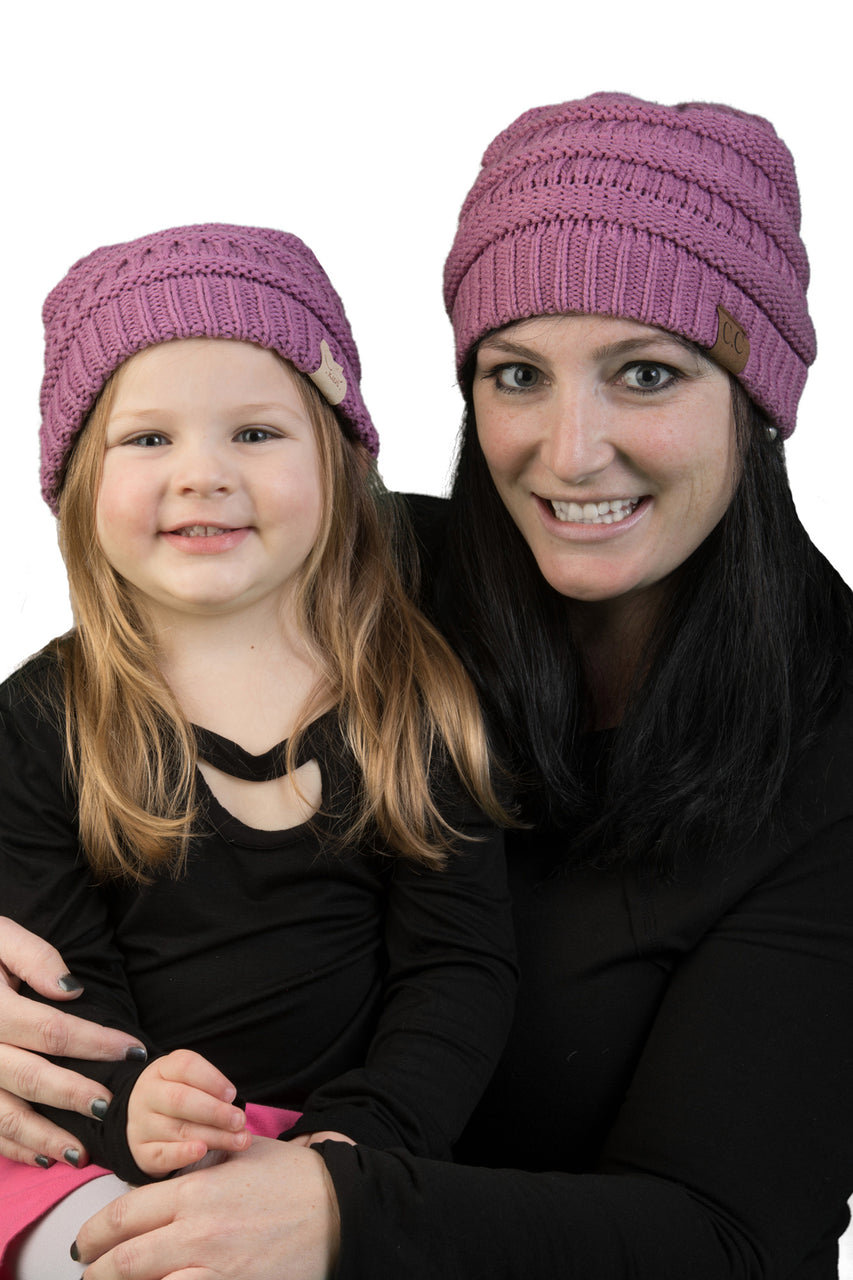 C.C Women & Children's Matching Beanie Bundle - Lavender