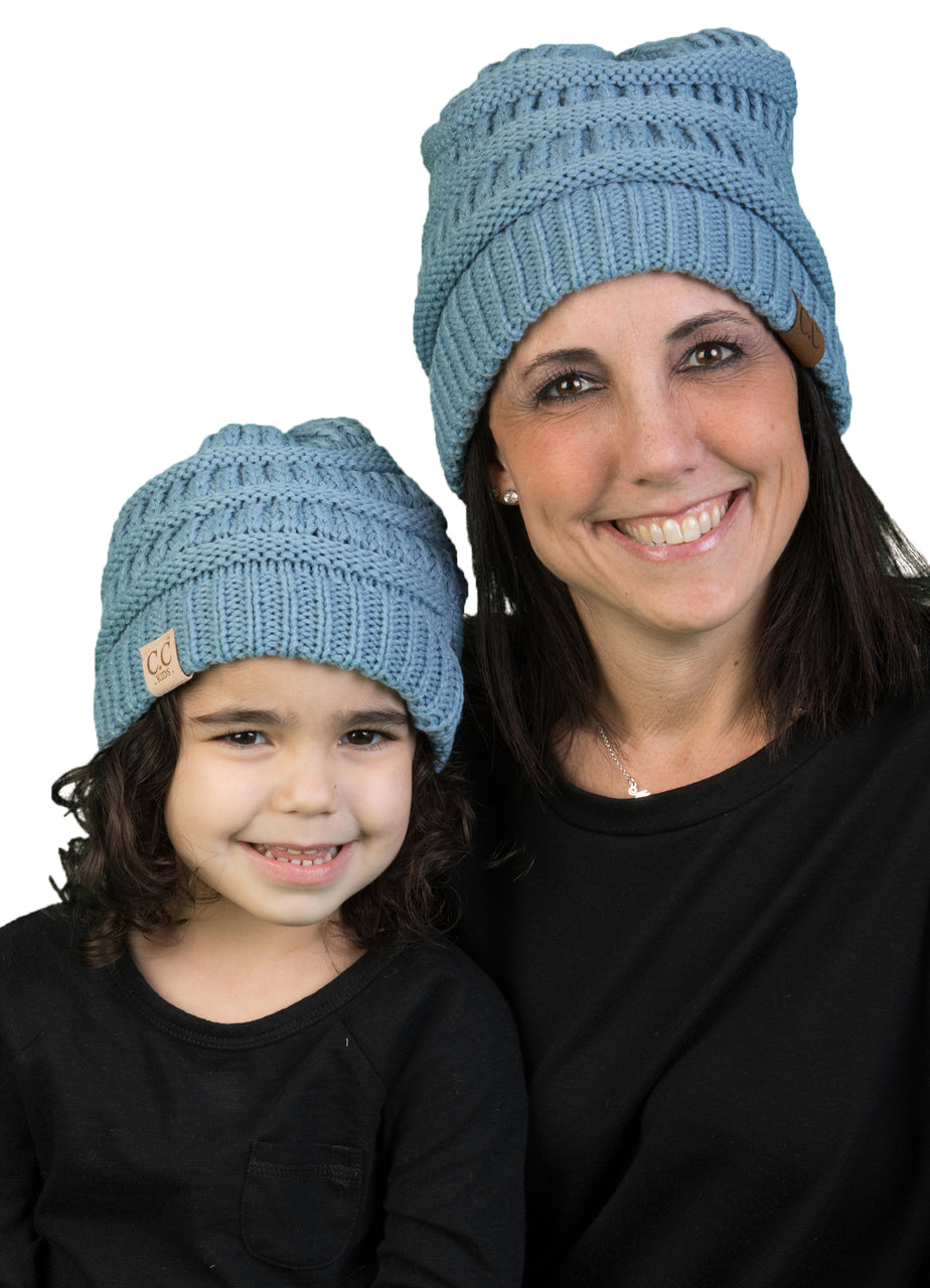 C.C Women & Children's Matching Beanie Bundle - Denim