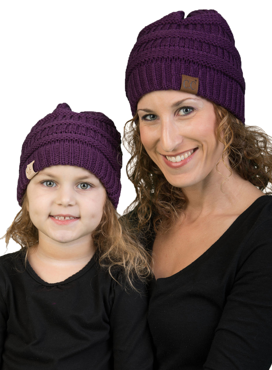 C.C Women & Children's Matching Beanie Bundle - Purple