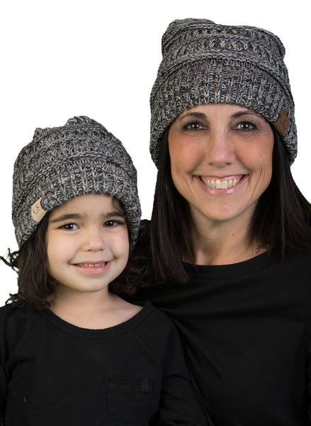 C.C Women & Children's Matching Beanie Bundle - Grey & Black Mix #31