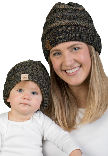 C.C Women & Children's Matching Beanie Bundle - Green & Olive Mix #9