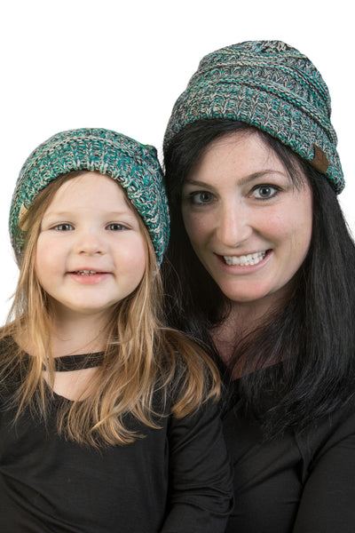 C.C Women & Children's Matching Beanie Bundle - Turquoise Mix #3