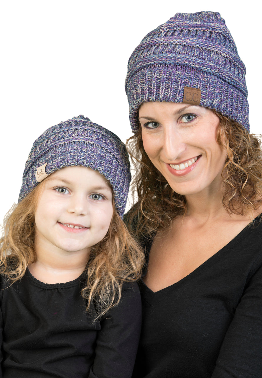 C.C Women & Children's Matching Beanie Bundle - Purple Mix #2