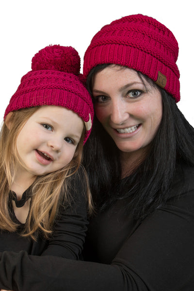 C.C Mom & Children's Matching Beanie Bundle with Pom - Hot Pink