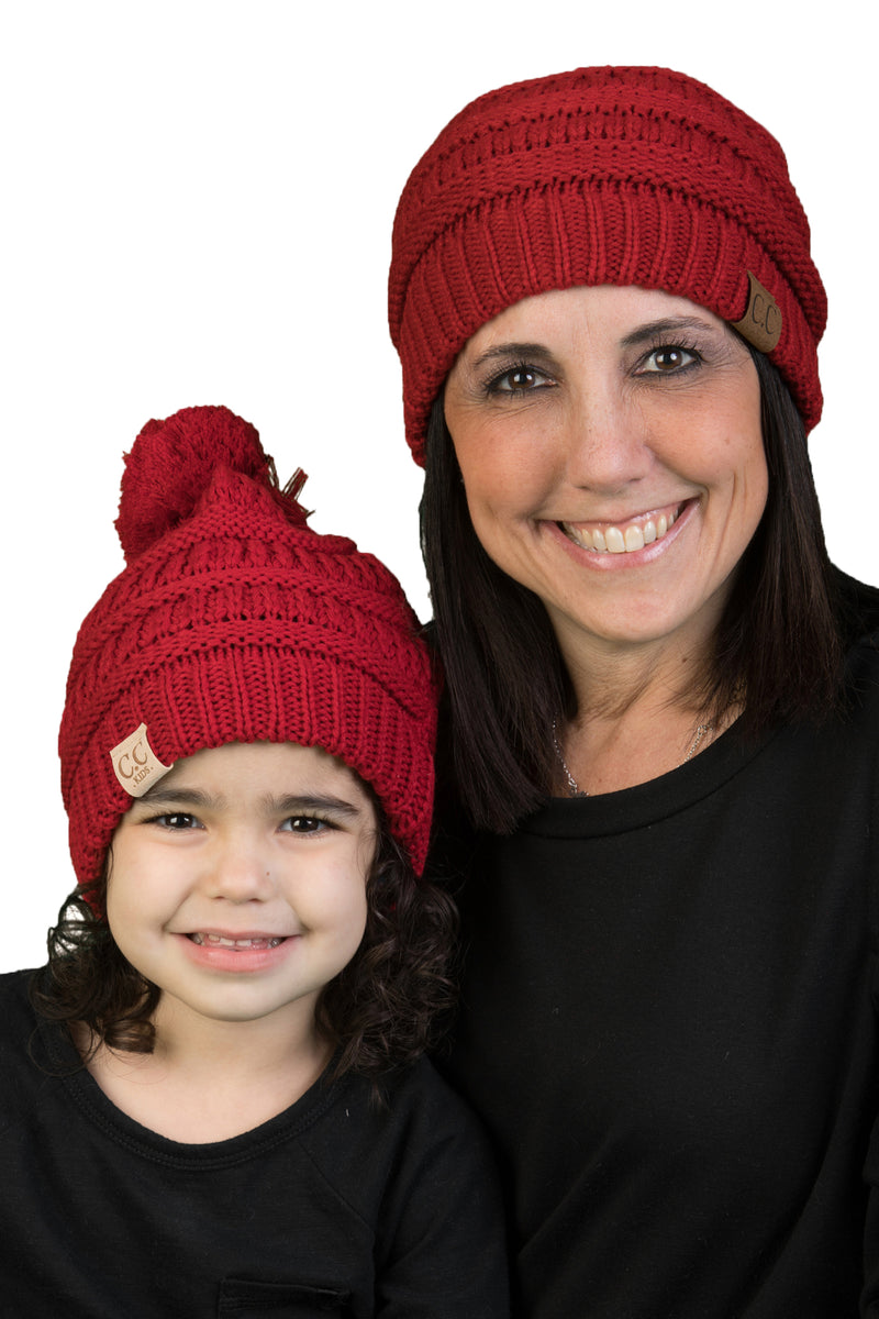 C.C Mom & Children's Matching Beanie Bundle with Pom - Red