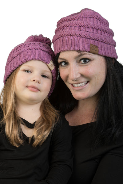 C.C Mom & Children's Matching Beanie Bundle with Pom - Lavender