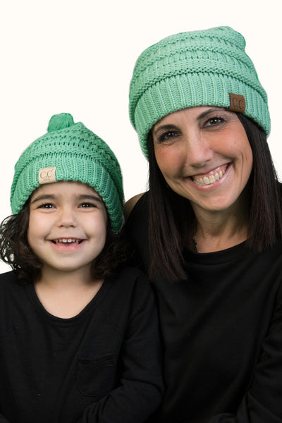 C.C Women & Children's Matching Pom Beanie Bundle - Seafoam