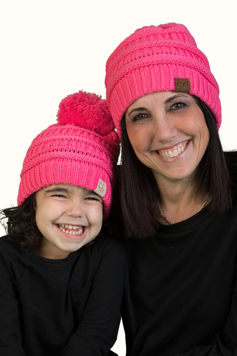 C.C Women & Children's Matching Pom Beanie Bundle - Candy Pink