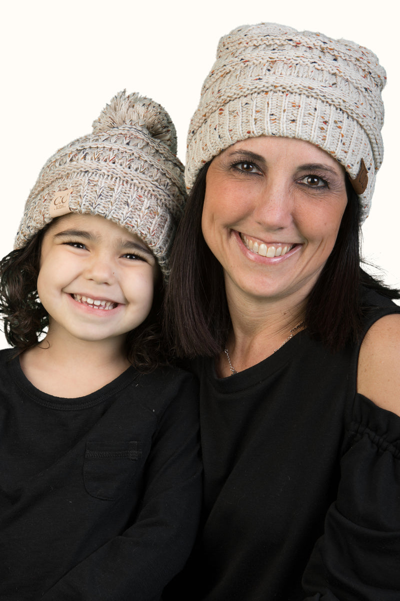 C.C Women & Children's Matching Pom Beanie Bundle - Confetti Oatmeal