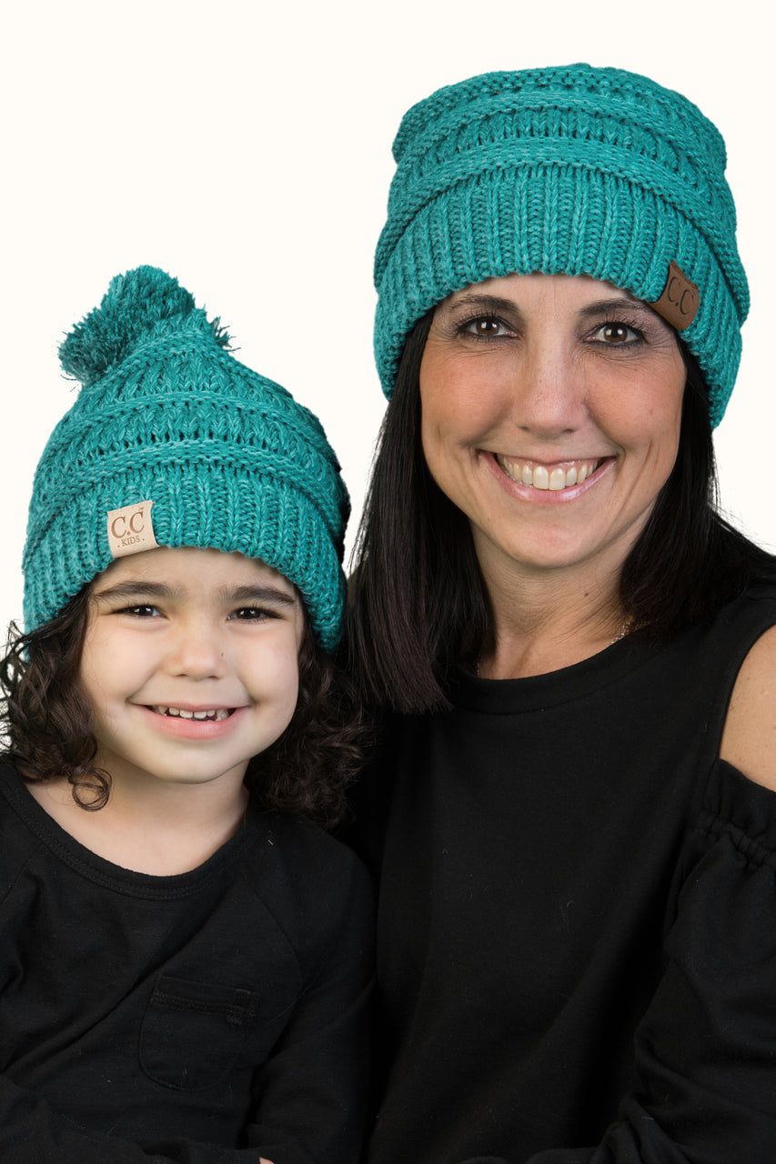 C.C Women & Children's Matching Pom Beanie Bundle - Mint Mix #15