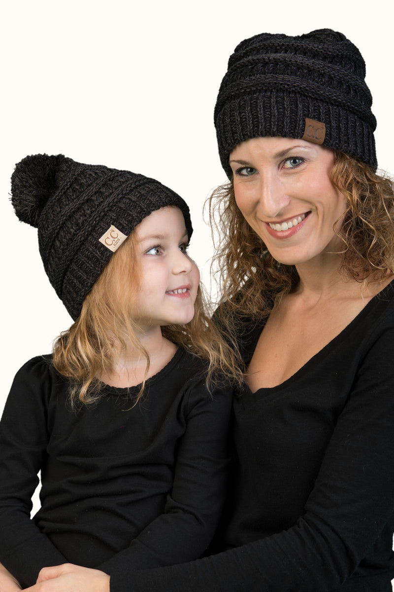 C.C Women & Children's Matching Pom Beanie Bundle - Black Mix #23