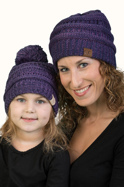 C.C Women & Children's Matching Pom Beanie Bundle - Violet Mix #21