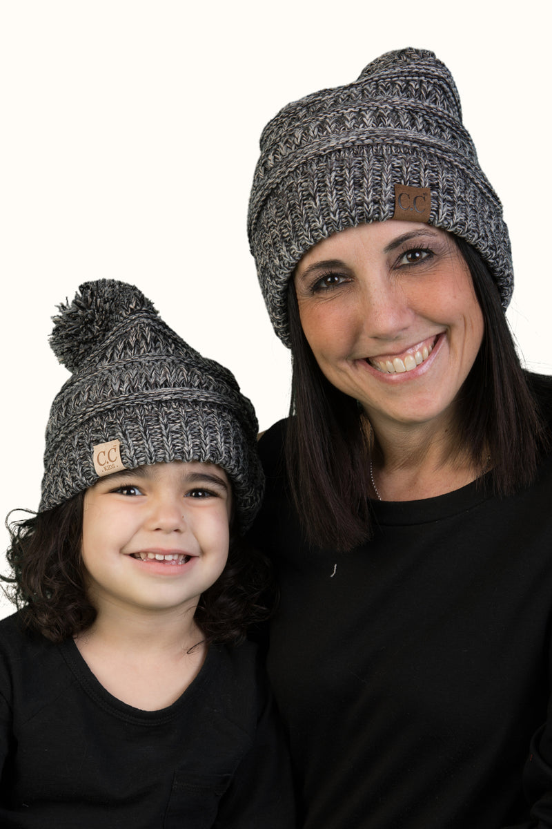 C.C Women & Children's Matching Beanie Bundle with Pom - Black Mix #31
