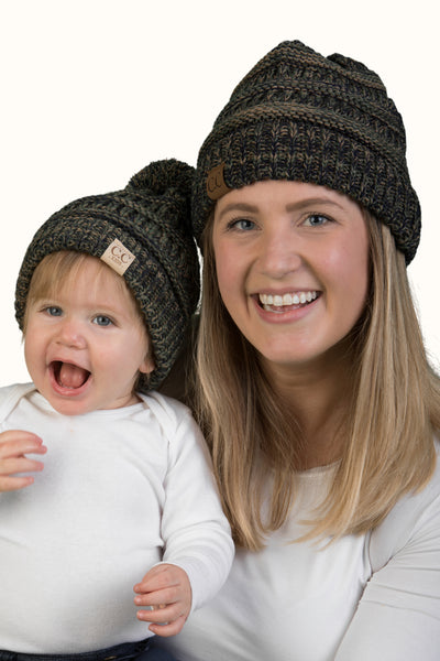 C.C Women & Children's Matching Beanie Bundle with Pom -Olive Mix #9