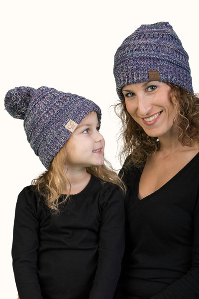 C.C Women & Children's Matching Beanie Bundle with Pom - Purple Mix #2