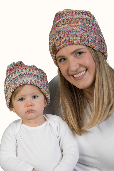 C.C Women & Children's Pom Matching Beanie Bundle - Rainbow Mix #11