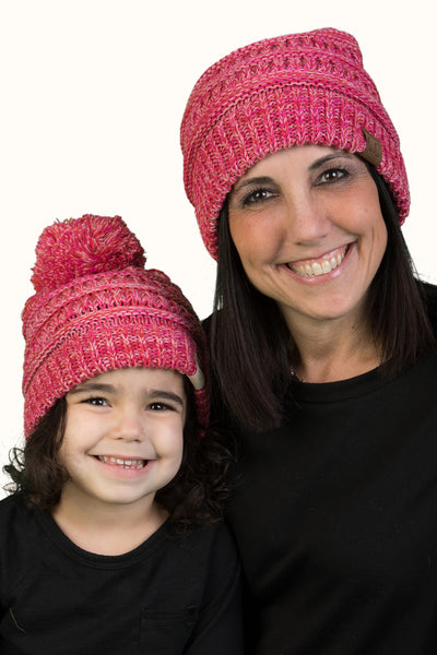 C.C Women Beanie & Children's Pom Matching Beanie Bundle - Red/Pink Mix #10