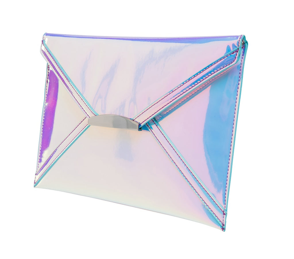 Evening Envelope Clutch - Holographic Blue
