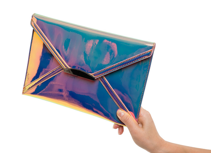Evening Envelope Clutch - Holographic Pink