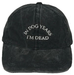 Unconstructed Dad Hat - In Dog Year I'm Dead (Washed Black)