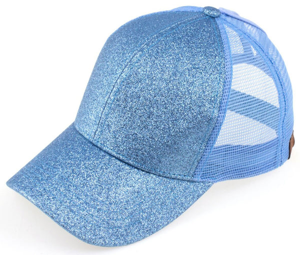 C.C Glitter Ponytail Trucker Hat - Light Blue