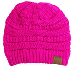 C.C. Classic Fit Cable Knit Beanie - Neon