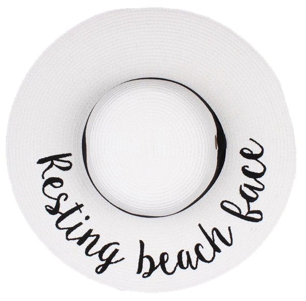 C.C Embroidered Sun Hat - Resting Beach Face (White Hat with Black Lettering)