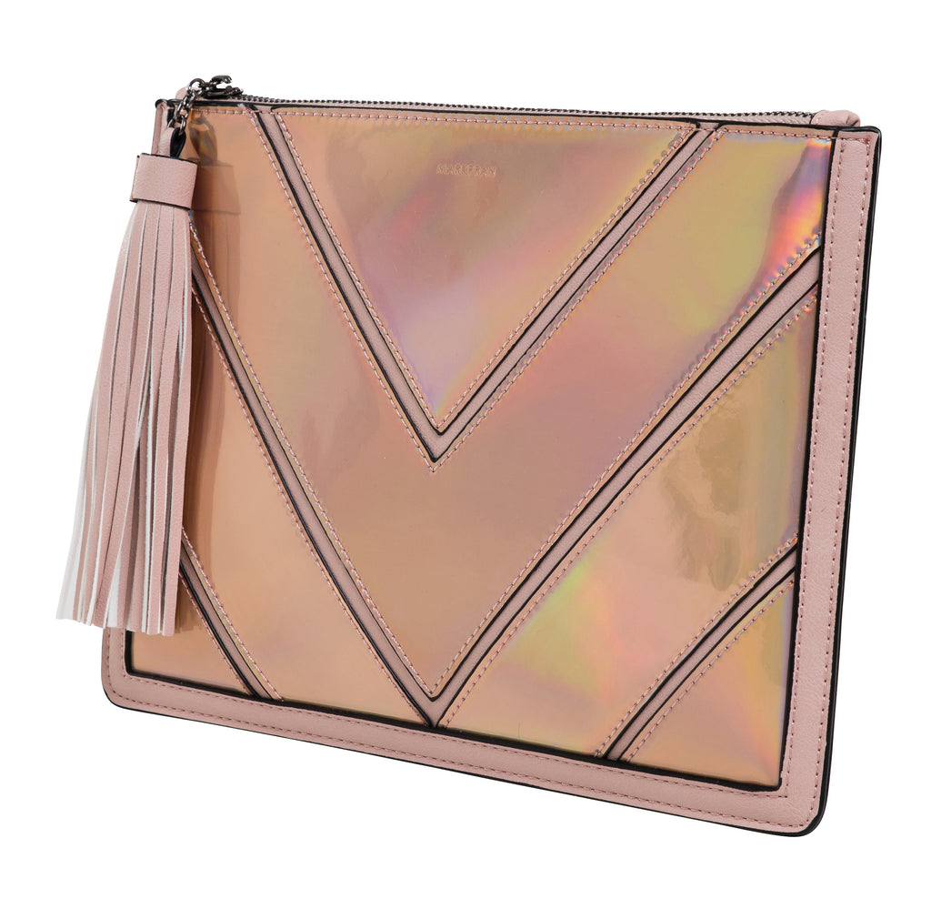 Funky Junque Evening Clutch - Metallic Chevron Rose