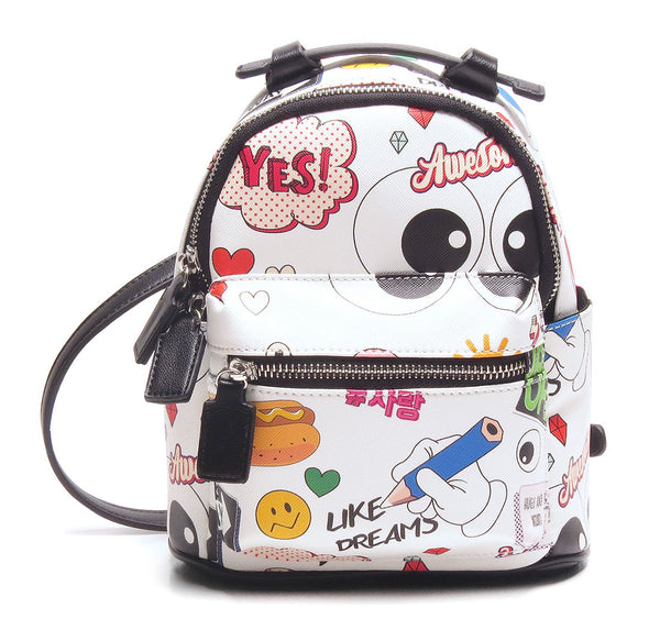 Mini Backpack - Cartoon/Icons (White)