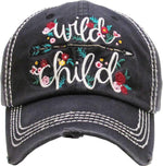 Distressed Embroidered Baseball Cap - Wild Child (Black)