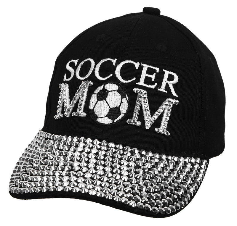 Funky Junque's Women's Silver Rhinestone Bill Sports Mom Bling Baseball Cap Hat - Soccer Black