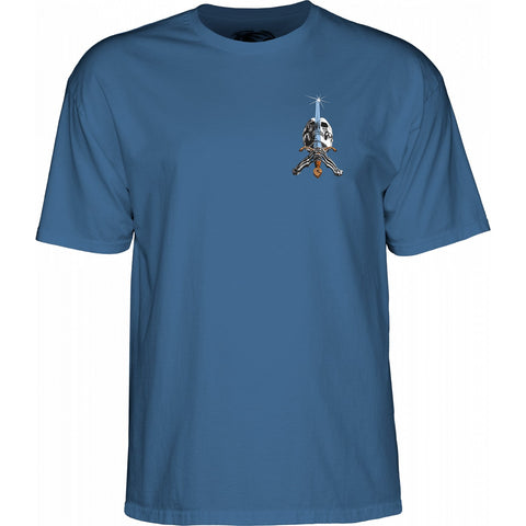 Powell Peralta Skull and Sword T-Shirt Slate Blue