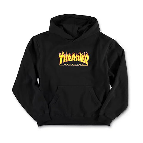 Thrasher Flame Logo Youth Hooded Pullover Sweatshirt (Black)
