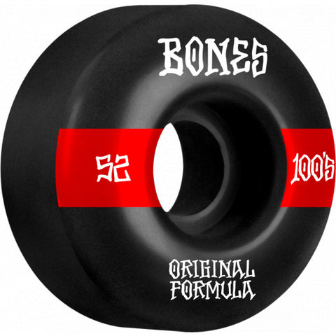 Bones 100's V4 Wide 52mm Wheels (Black)