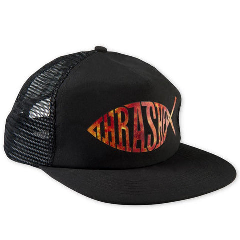 "THRASHER ""Fish"" Mesh Trucker Hat (Black)"