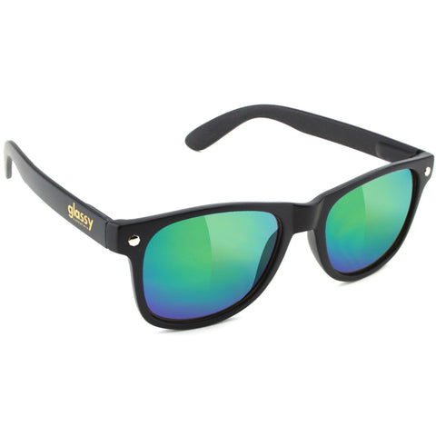 "GLASSY ""Leonard"" Sunglasses (Matte Black / Green Mirror)"