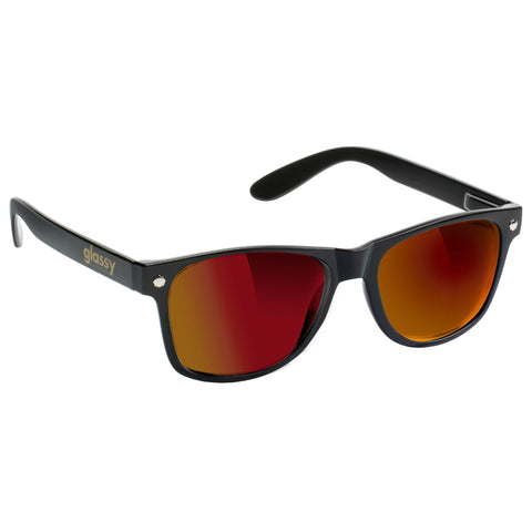 "GLASSY ""Leonard"" Sunglasses (Black / Red Mirror)"