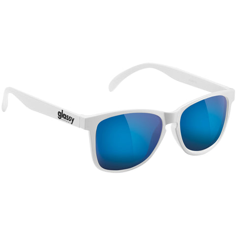"GLASSY ""Deric"" Sunglasses (White / Blue Mirror)"