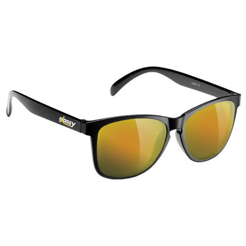 "GLASSY ""Deric - Cancer Hater"" Sunglasses (Black / Gold Mirror)"