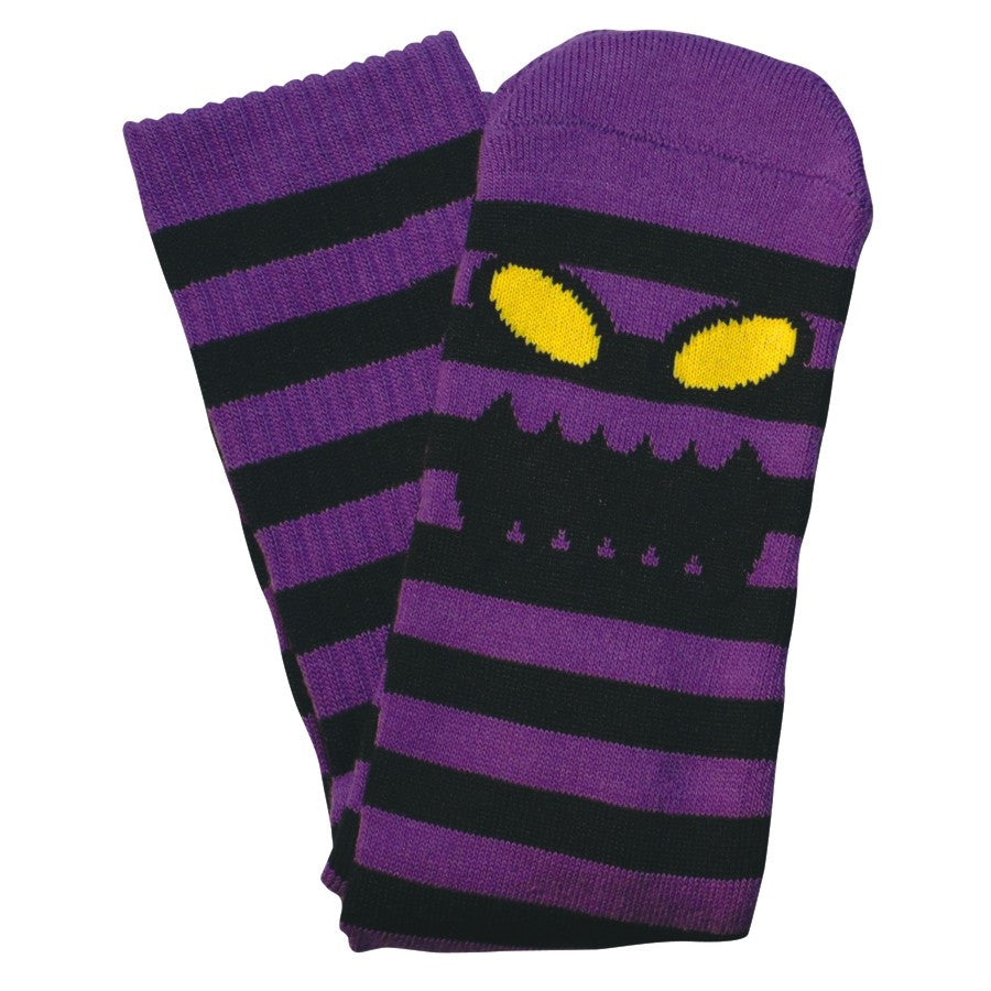 "TOY MACHINE ""Monster Stripe"" Crew Socks (Black/Purple)"