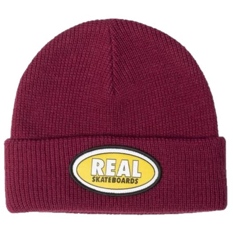 Real Oval Cuff Beanie (Maroon / Yellow)